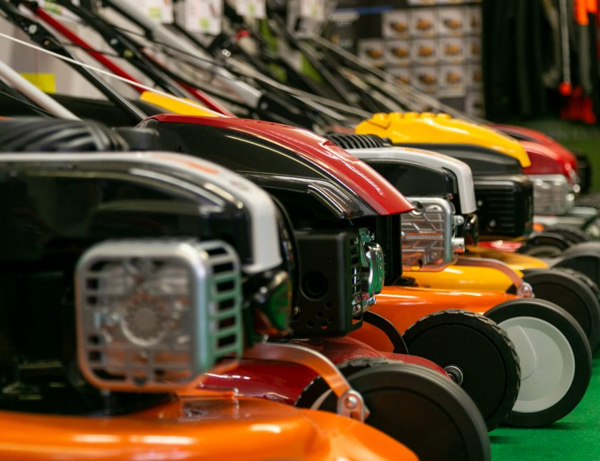close up push lawn mowers at arb showroom